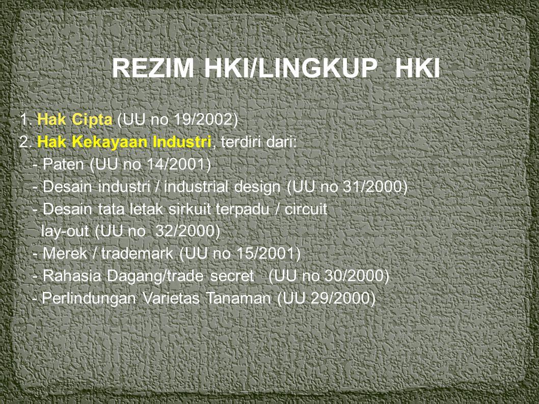 REZIM HKI/LINGKUP HKI 1. Hak Cipta (UU no 19/2002) 2. Hak Kekayaan Industri, terdiri dari: - Paten (UU no 14/2001)