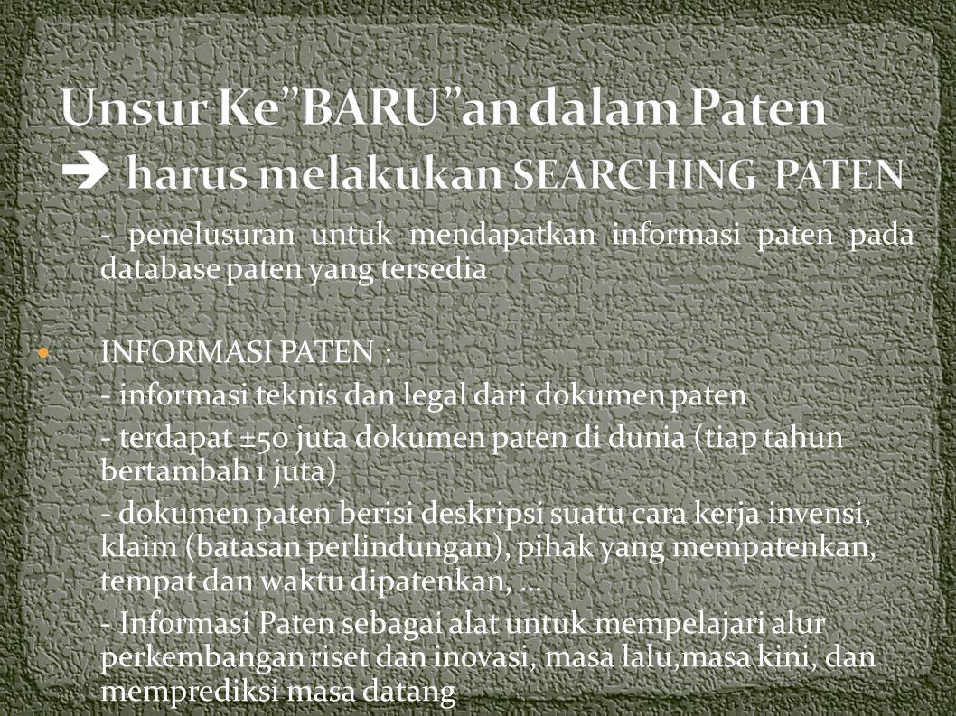 Unsur Ke BARU an dalam Paten  harus melakukan SEARCHING PATEN