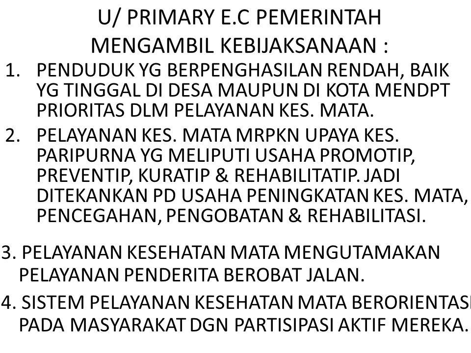 U/ PRIMARY E.C PEMERINTAH MENGAMBIL KEBIJAKSANAAN :