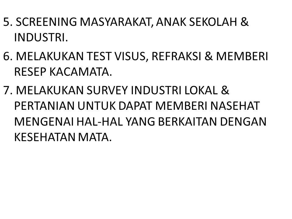5. SCREENING MASYARAKAT, ANAK SEKOLAH & INDUSTRI. 6