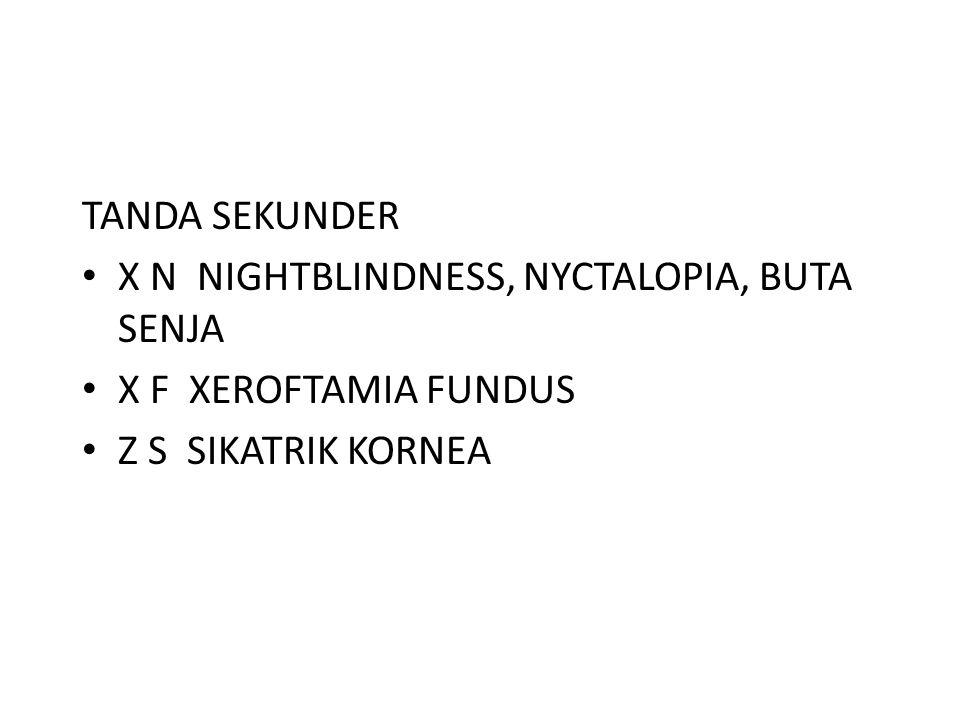 TANDA SEKUNDER X N NIGHTBLINDNESS, NYCTALOPIA, BUTA SENJA.