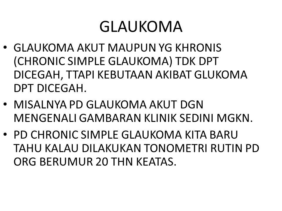 GLAUKOMA GLAUKOMA AKUT MAUPUN YG KHRONIS (CHRONIC SIMPLE GLAUKOMA) TDK DPT DICEGAH, TTAPI KEBUTAAN AKIBAT GLUKOMA DPT DICEGAH.