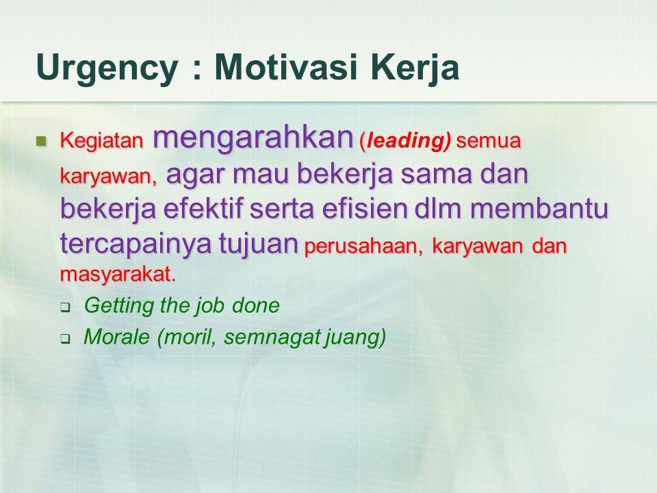 Urgency : Motivasi Kerja