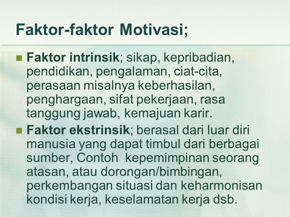 Faktor-faktor Motivasi;