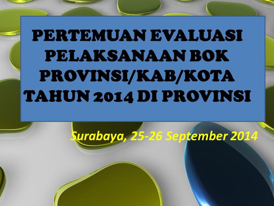 PERTEMUAN EVALUASI PELAKSANAAN BOK PROVINSI/KAB/KOTA TAHUN 2014 DI PROVINSI