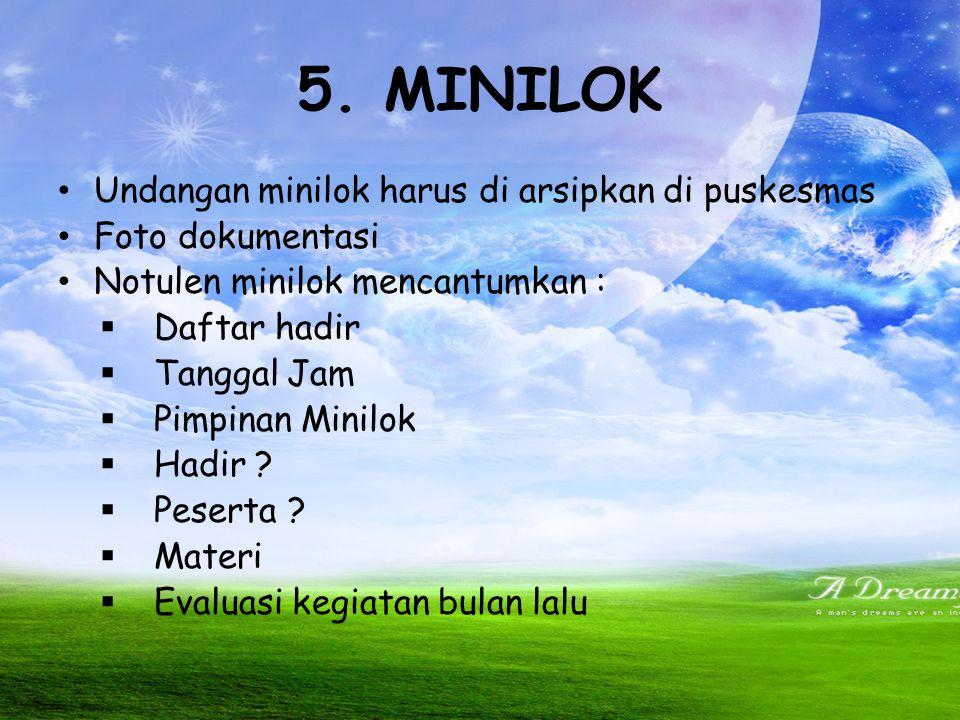 5. MINILOK Undangan minilok harus di arsipkan di puskesmas
