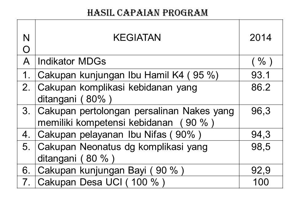 HASIL CAPAIAN PROGRAM NO. KEGIATAN. 2014. A. Indikator MDGs. ( % ) 1. Cakupan kunjungan Ibu Hamil K4 ( 95 %)