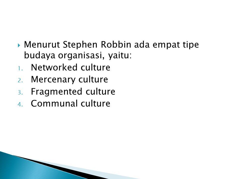 Menurut Stephen Robbin ada empat tipe budaya organisasi, yaitu:
