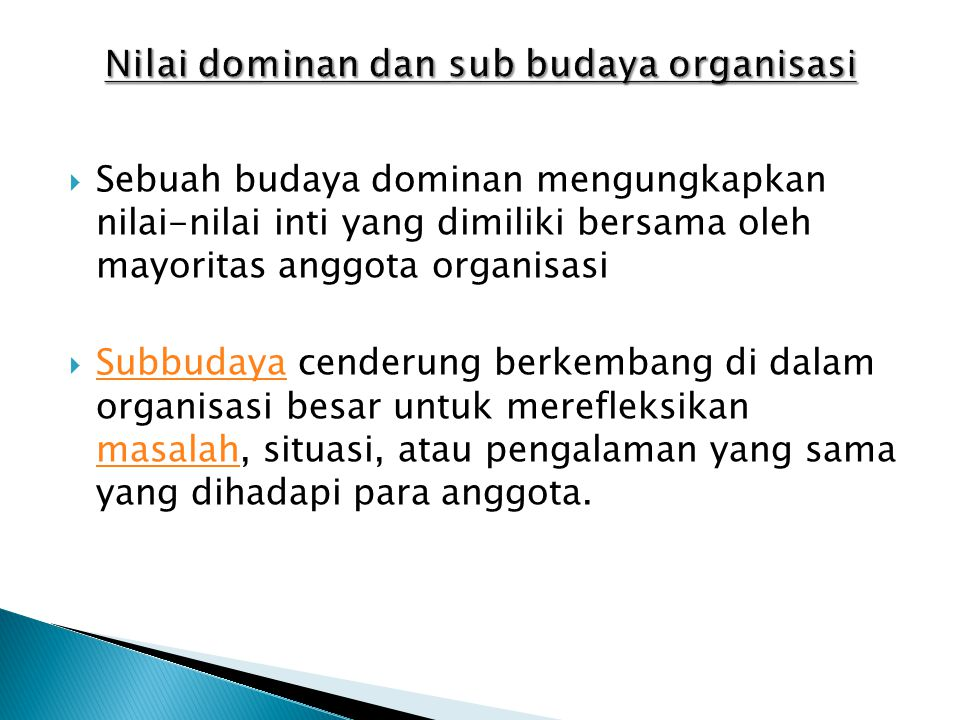 Nilai dominan dan sub budaya organisasi