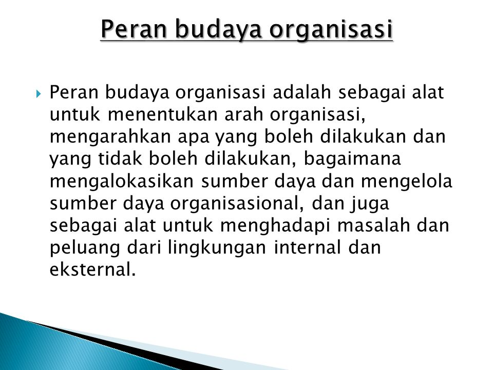 Peran budaya organisasi
