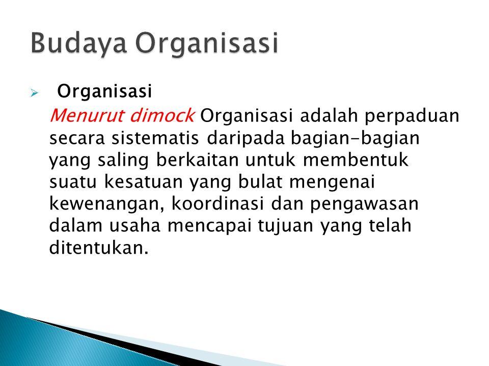 Budaya Organisasi Organisasi