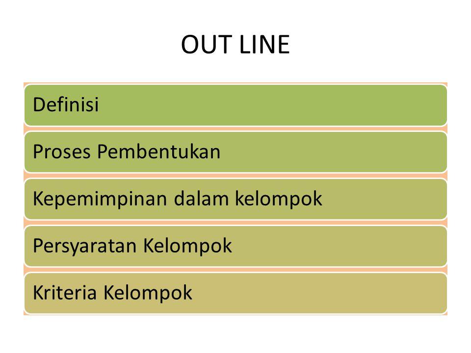 OUT LINE Definisi Proses Pembentukan Kepemimpinan dalam kelompok
