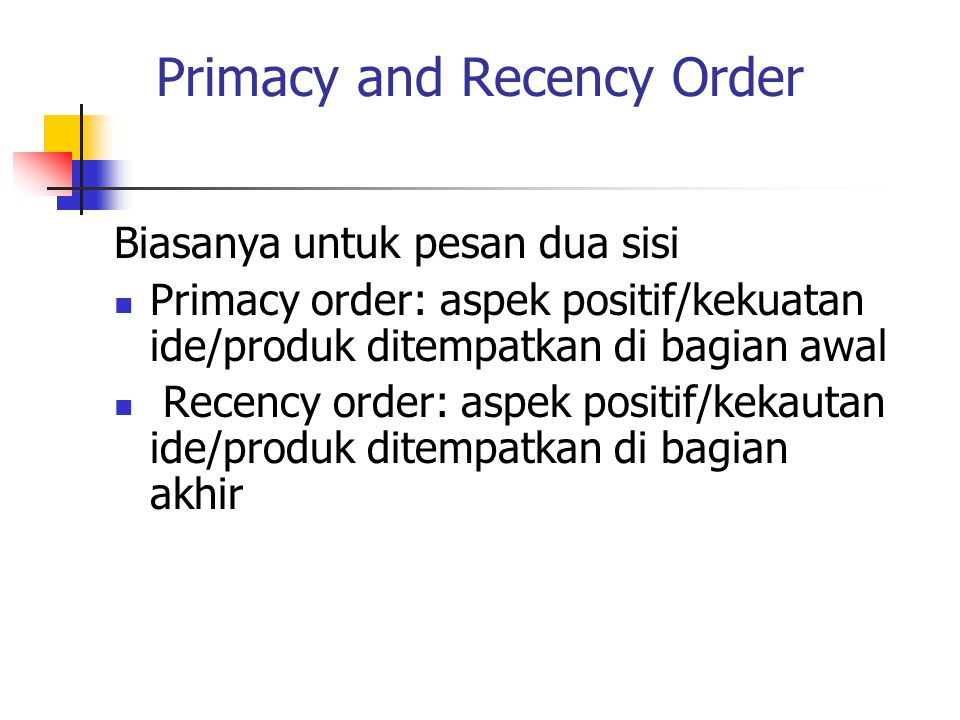 Primacy and Recency Order