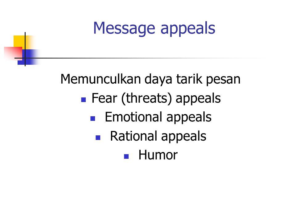 Message appeals Memunculkan daya tarik pesan Fear (threats) appeals