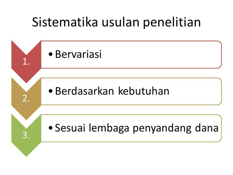Sistematika usulan penelitian