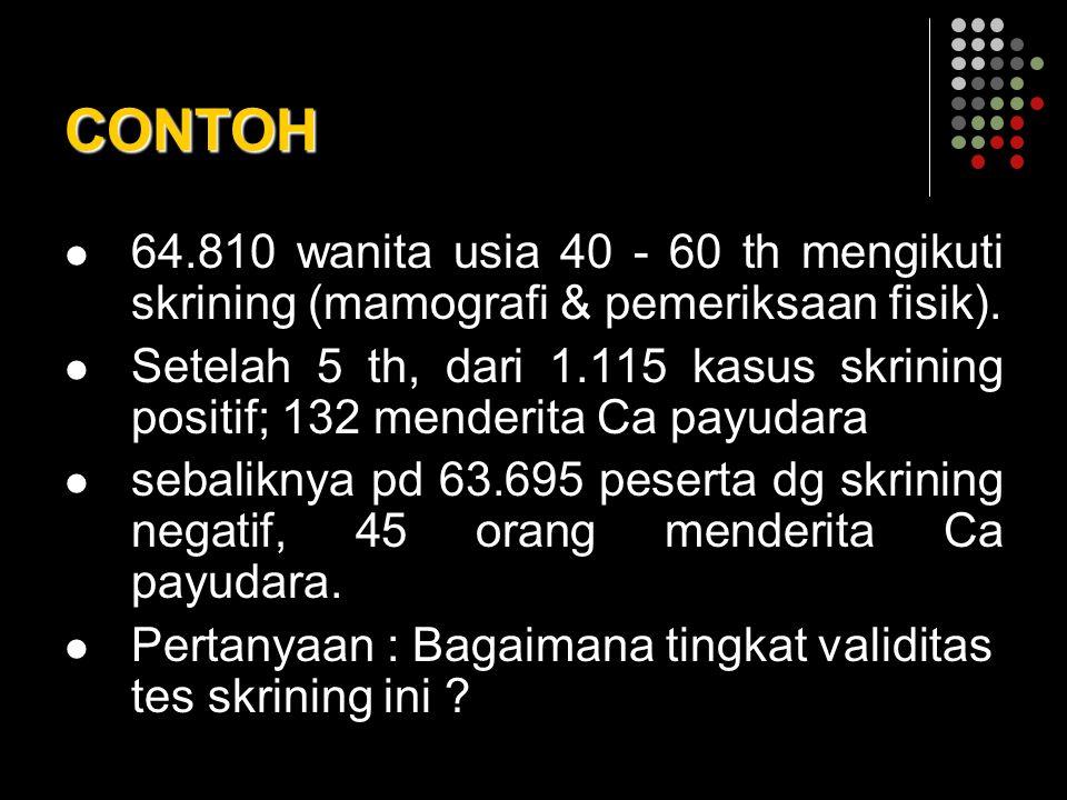 CONTOH 64.810 wanita usia 40 - 60 th mengikuti skrining (mamografi & pemeriksaan fisik).