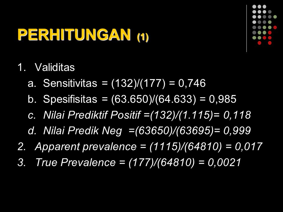 PERHITUNGAN (1) Validitas Sensitivitas = (132)/(177) = 0,746