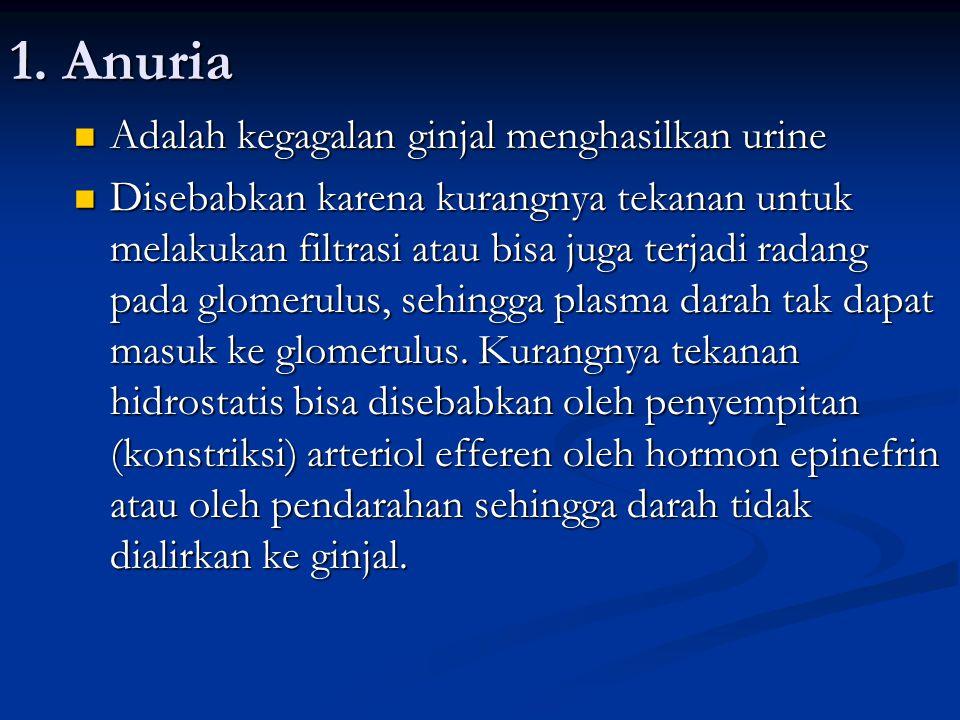1. Anuria Adalah kegagalan ginjal menghasilkan urine