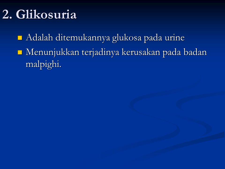 2. Glikosuria Adalah ditemukannya glukosa pada urine