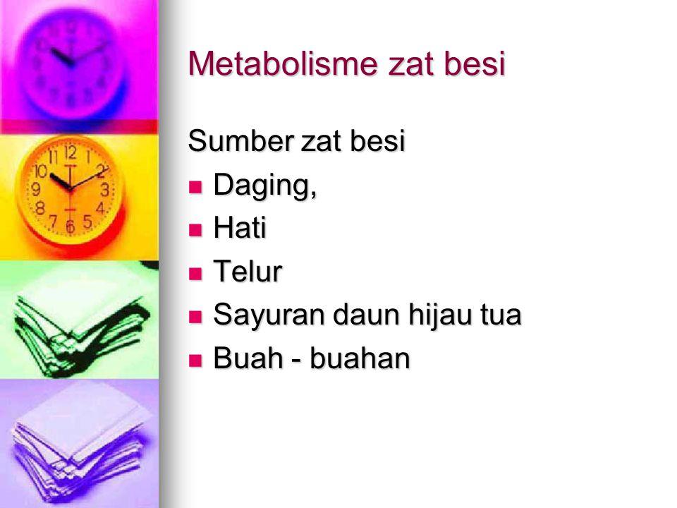 Metabolisme zat besi Sumber zat besi Daging, Hati Telur
