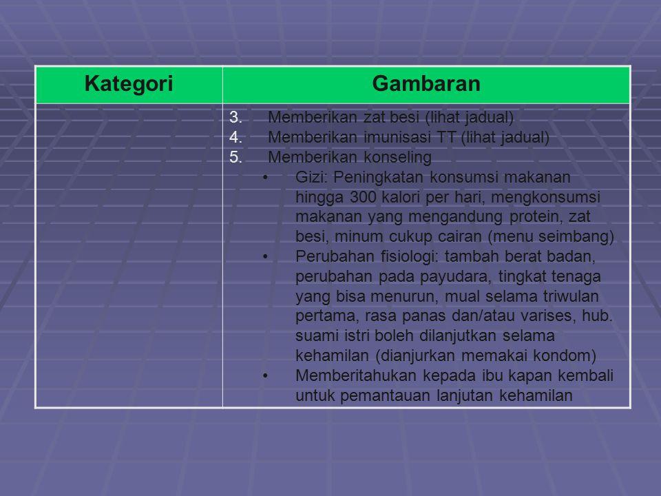 Kategori Gambaran Memberikan zat besi (lihat jadual)