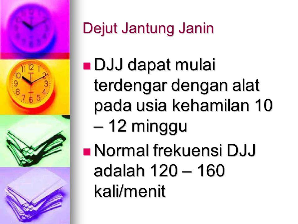 Normal frekuensi DJJ adalah 120 – 160 kali/menit