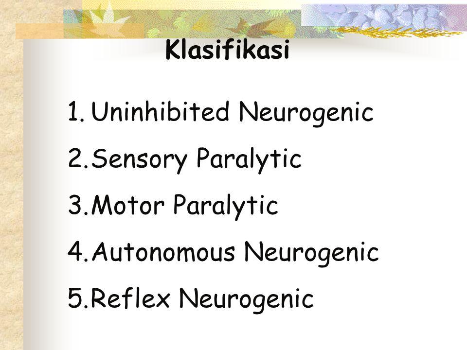 Klasifikasi Uninhibited Neurogenic. Sensory Paralytic.