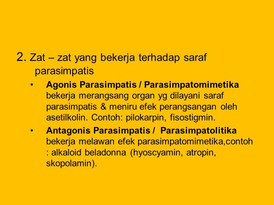 2. Zat – zat yang bekerja terhadap saraf parasimpatis