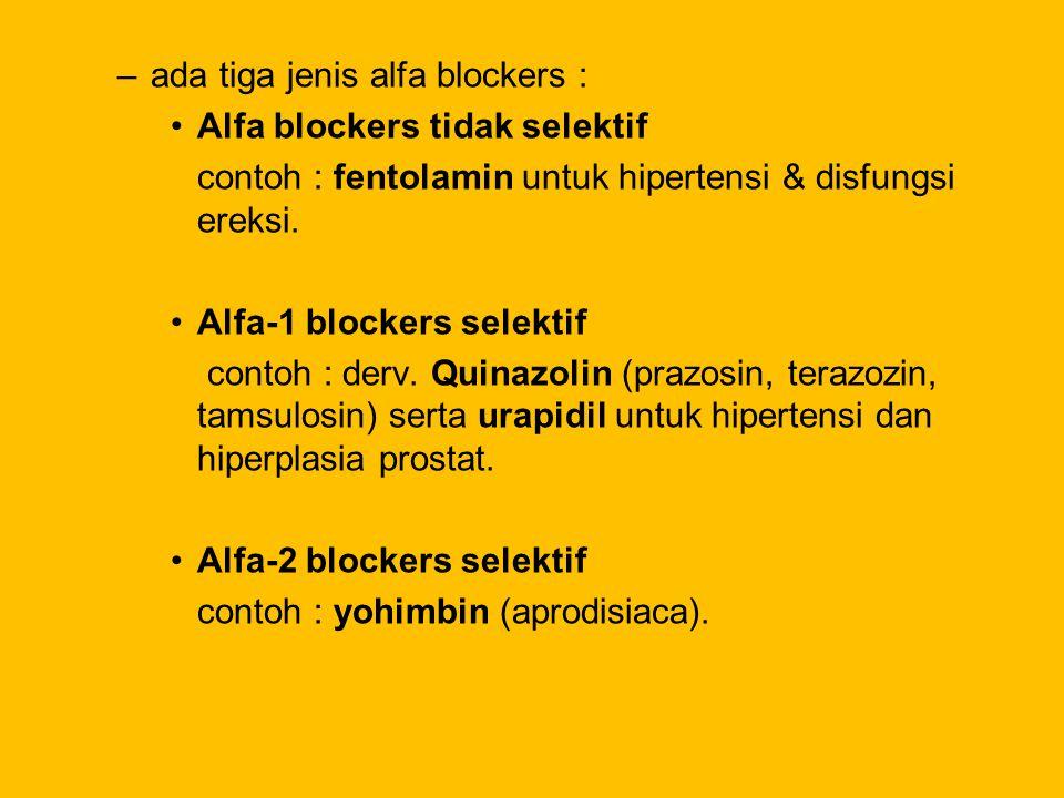 ada tiga jenis alfa blockers :