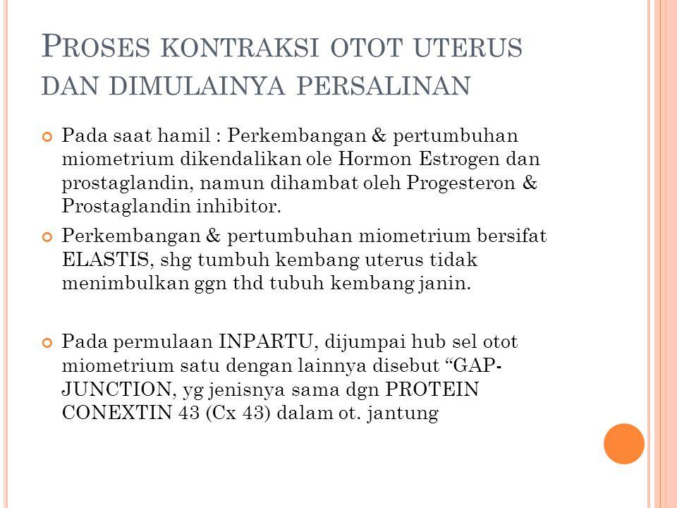 Proses kontraksi otot uterus dan dimulainya persalinan