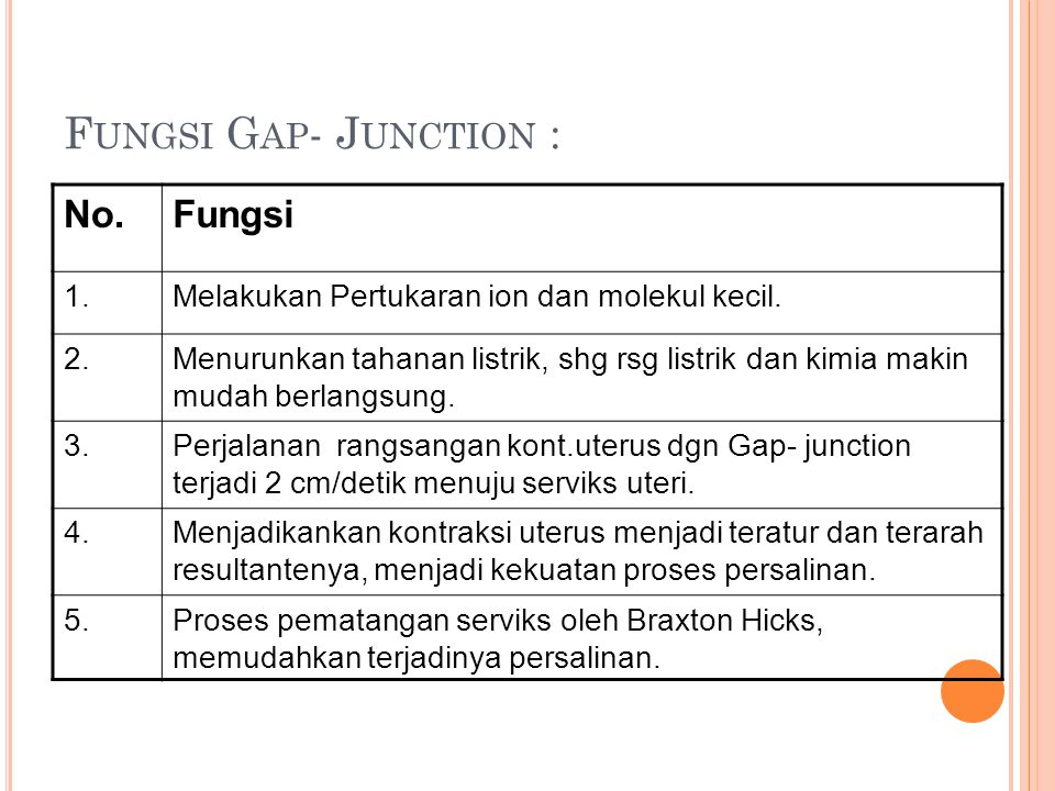 Fungsi Gap- Junction : No. Fungsi 1.