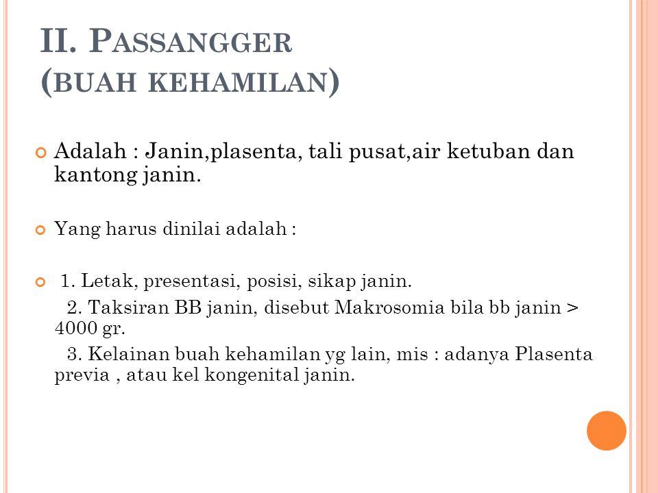 II. Passangger (buah kehamilan)