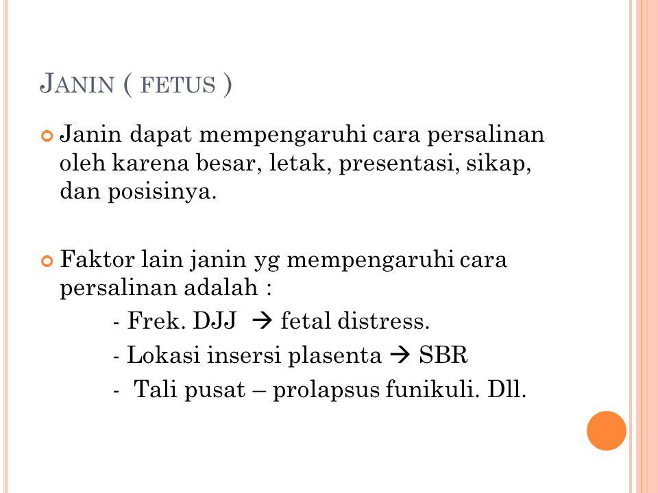 Janin ( fetus ) Janin dapat mempengaruhi cara persalinan oleh karena besar, letak, presentasi, sikap, dan posisinya.