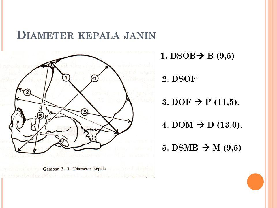 Diameter kepala janin 1. DSOB B (9,5) 2. DSOF 3. DOF  P (11,5).