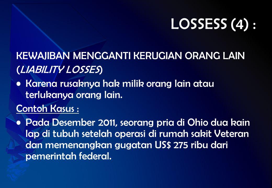 LOSSESS (4) : KEWAJIBAN MENGGANTI KERUGIAN ORANG LAIN