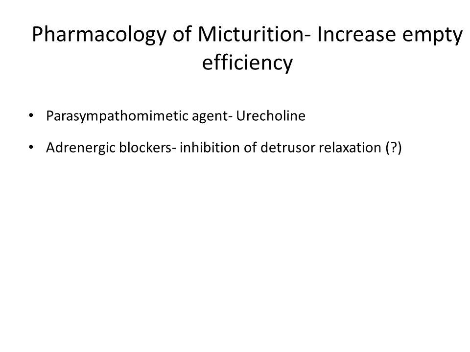 Pharmacology of Micturition- Increase empty efficiency