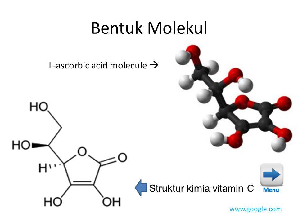 Bentuk Molekul L-ascorbic acid molecule  Struktur kimia vitamin C