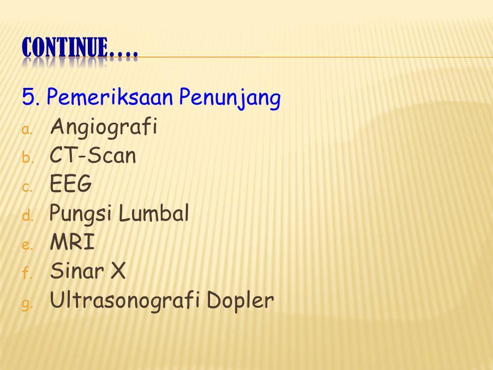 Continue…. 5. Pemeriksaan Penunjang Angiografi CT-Scan EEG