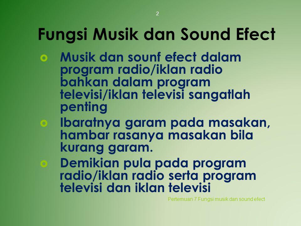 Fungsi Musik dan Sound Efect