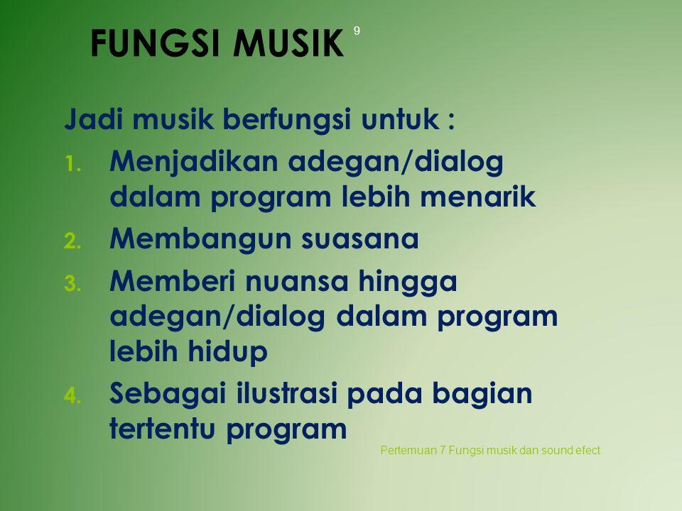 FUNGSI MUSIK Jadi musik berfungsi untuk :