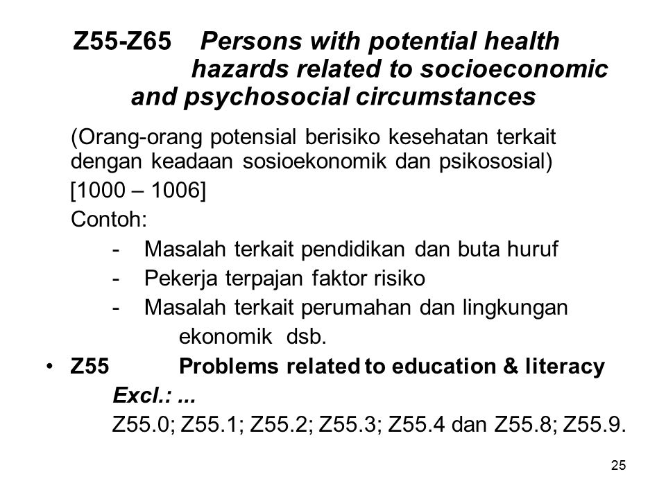 Z55-Z65. Persons with potential health