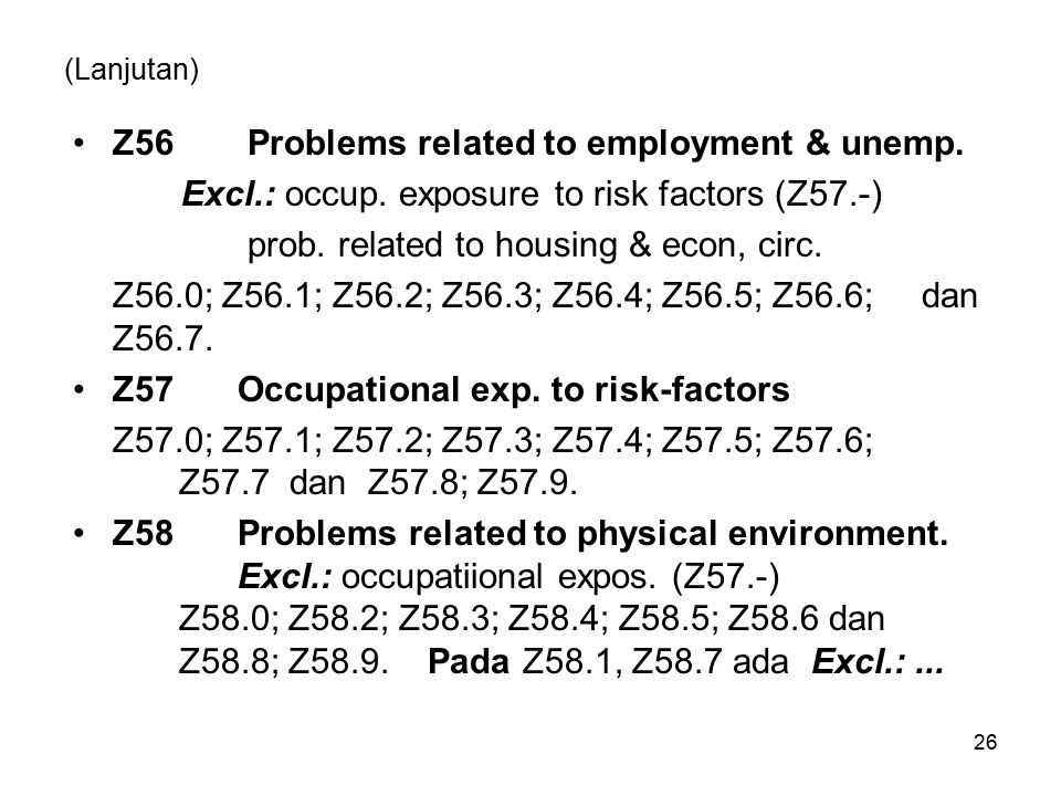 Z56 Problems related to employment & unemp.