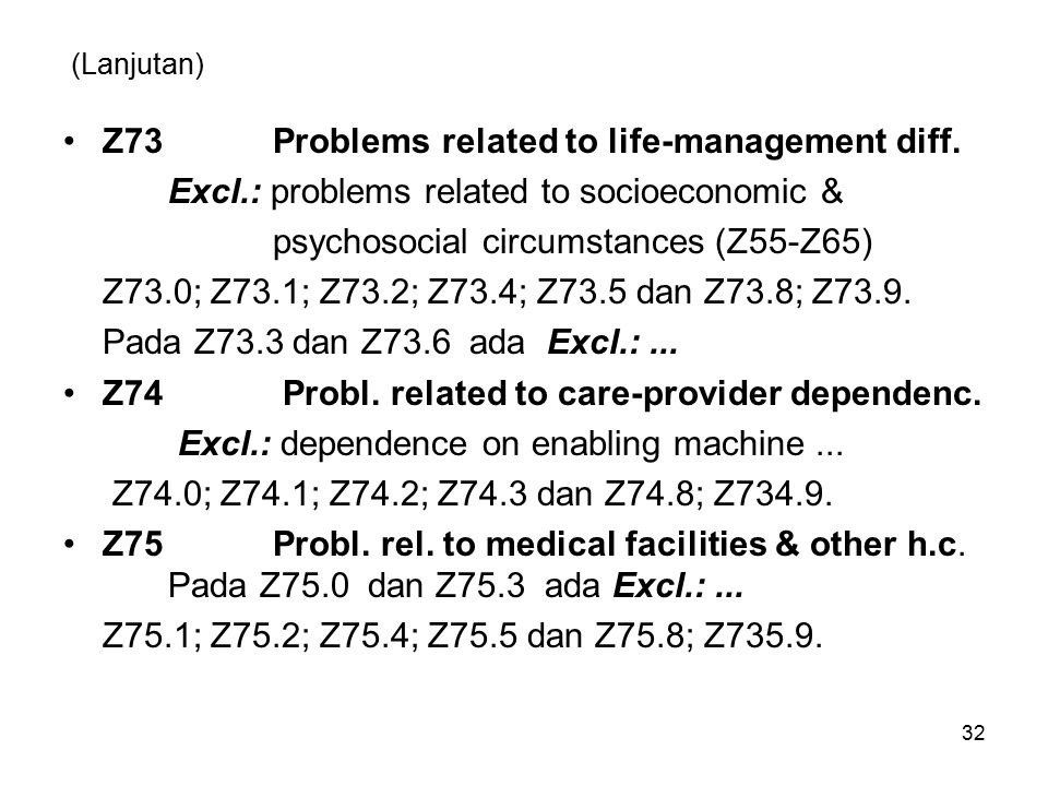 Z73 Problems related to life-management diff.