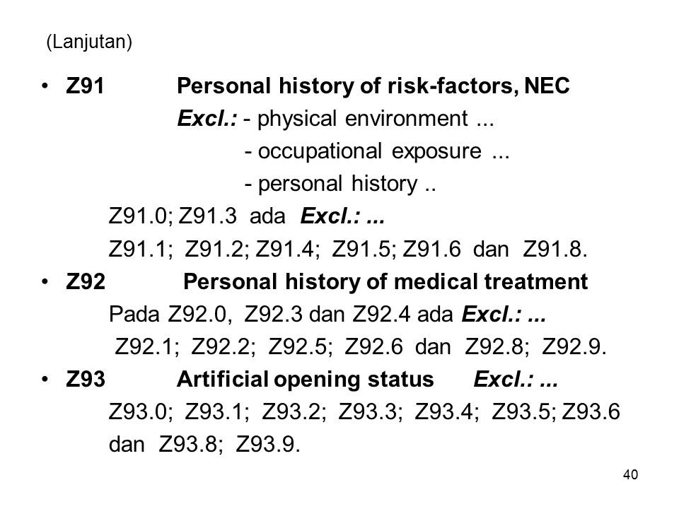 Z91 Personal history of risk-factors, NEC