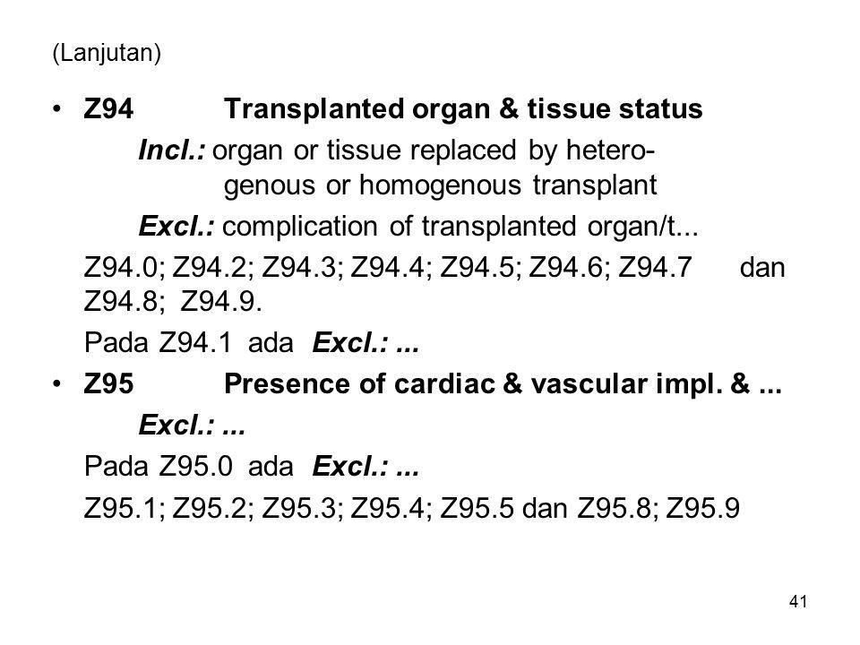 Z94 Transplanted organ & tissue status
