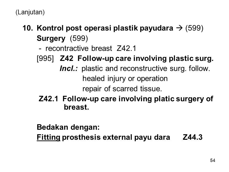10. Kontrol post operasi plastik payudara  (599) Surgery (599)