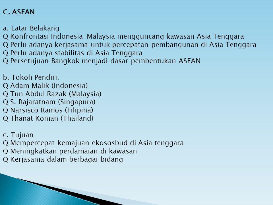 C. ASEAN a. Latar Belakang. Q Konfrontasi Indonesia-Malaysia mengguncang kawasan Asia Tenggara.