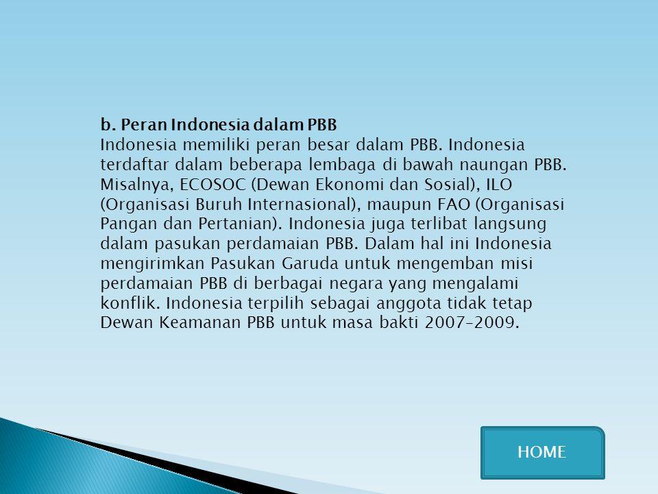 b. Peran Indonesia dalam PBB