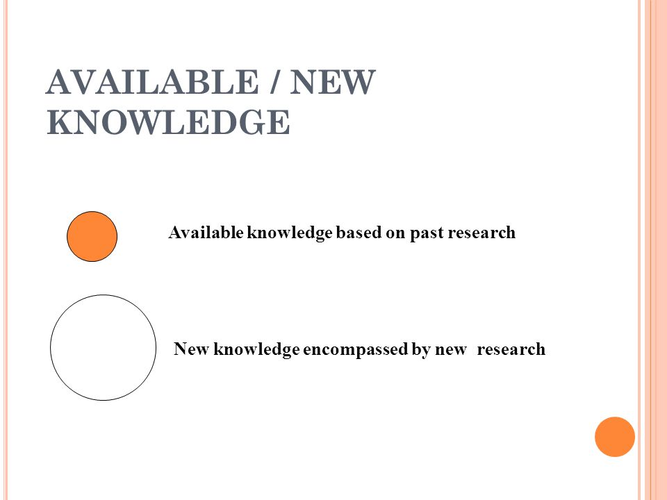 AVAILABLE / NEW KNOWLEDGE