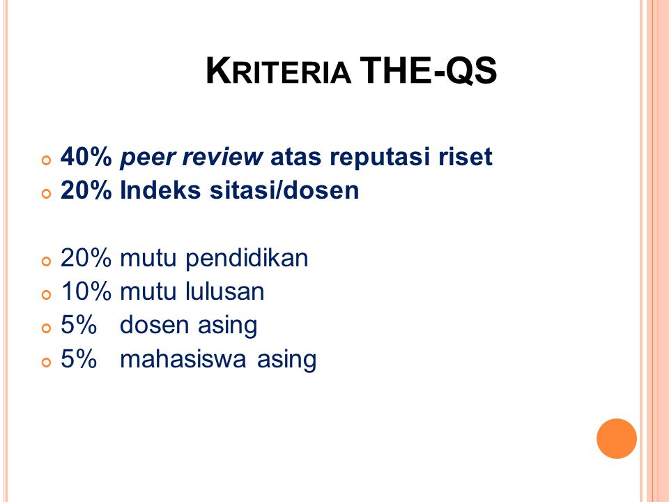 Kriteria THE-QS 40% peer review atas reputasi riset